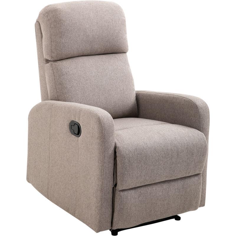Relax- und Schlafsessel Liegefunktion   Leinen, Schaumstoff, Stahl   66 x 95 x 99 cm   Grau - grau - Homcom