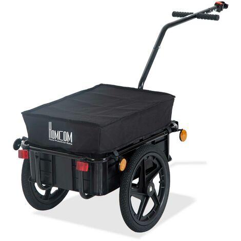 HOMCOM Remolque de Bicicleta para Carga Equipaje 40kg Reflector y Asas de Acero Negro