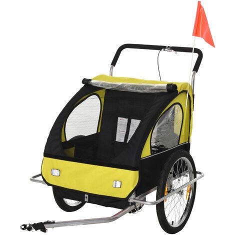 HOMCOM Remolque de Bicicleta para Niños de 2 Plazas Convertible en Cochecito Amarillo - Amarillo