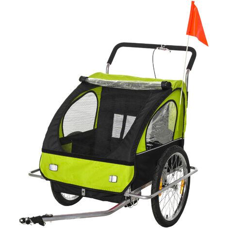 HOMCOM Remolque de Bicicleta para Niños de 2 Plazas Convertible en Cochecito Verde - Verde
