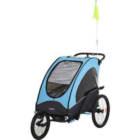 HOMCOM Remolque Infantil para Bicicleta 2 Plazas Carrito para Correr 150x85x107cm Azul - Azul