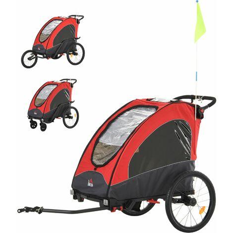 HOMCOM Remolque Infantil para Bicicleta 2 Plazas Carrito para Correr 150x85x107cm Rojo - Rojo