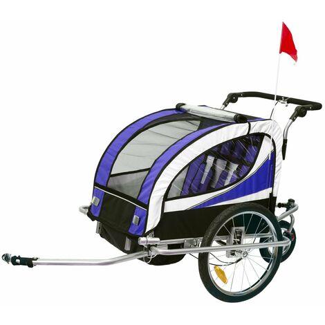 HOMCOM Remolque para Bicicleta tipo Carro con Barra de Paseo para Niños de 2 Plazas