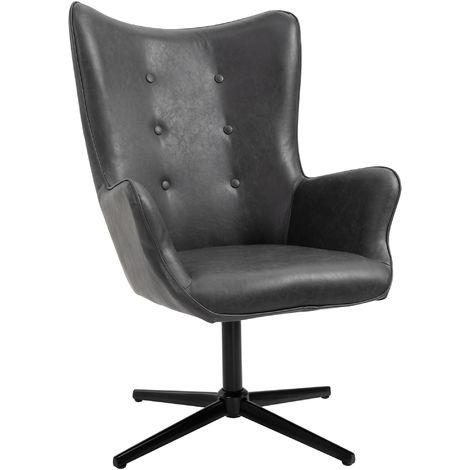 HOMCOM Retro Leisure Chair Metal Base Swivel High Comfort for Home Office Black