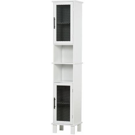 HOMCOM Retro Slimlin Bathroom Storage Cabinet Tower Organiser w/ Doors Shelves