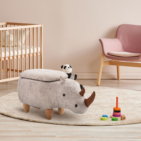 HOMCOM Rhino Storage Stool Cute Kids Decoration Footrest Wood Frame Legs Grey
