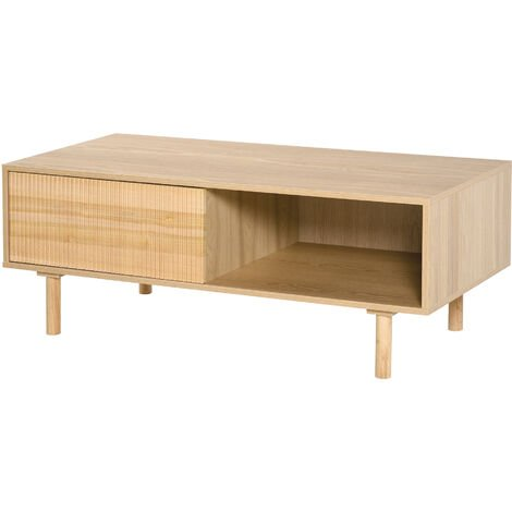 """main image of """"HOMCOM Ribbed Door Modern Coffee Table w/ Compartment Cabinet Unique Home Furniture"""""""