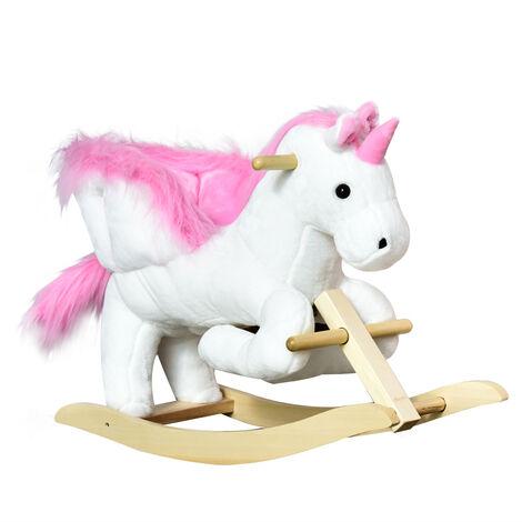 HOMCOM Ride On Cute Rocking Unicorn Soft Seat with High Back Sound White Pink