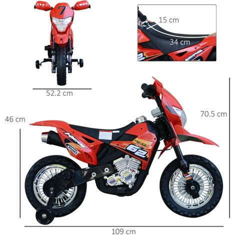 HOMCOM Ride On Motorcycle Bike Rechargeable 6V Battery w/ Lights Music Horn Red