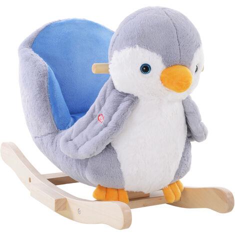HOMCOM Rocking Penguin Animal Plush Music Button Seat Handlebar Multicoloured
