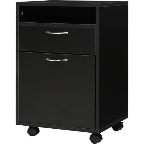 HOMCOM Rolling File Cabinet Office Storage w/ 2 Drawers Shelf Wheels Black