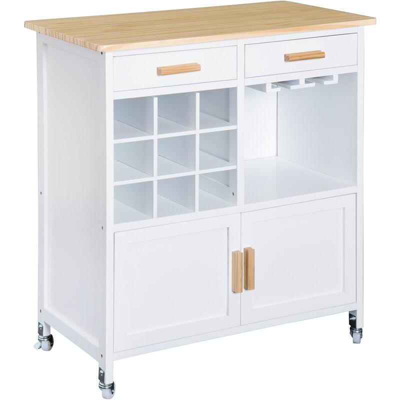 Homcom Rolling Kitchen Cart Storage Cabinet Trolley Wood Drawers On Wheels W Wine Racks