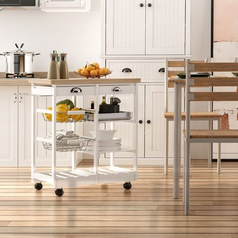 HOMCOM Rolling Kitchen Island Trolley Cart Drawer w/ 6 Bottle Wine Rack - White