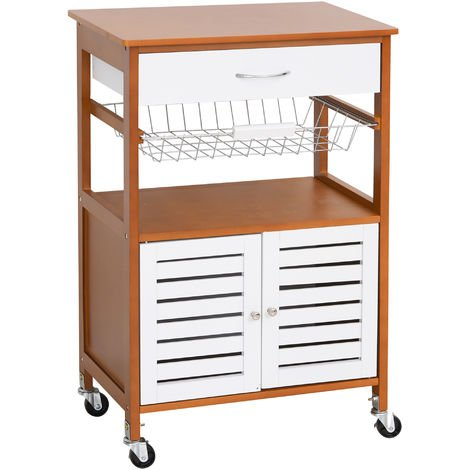 HOMCOM Rolling Kitchen Storage Island on 360° Swivel Wheels Dining Cart Cabinet