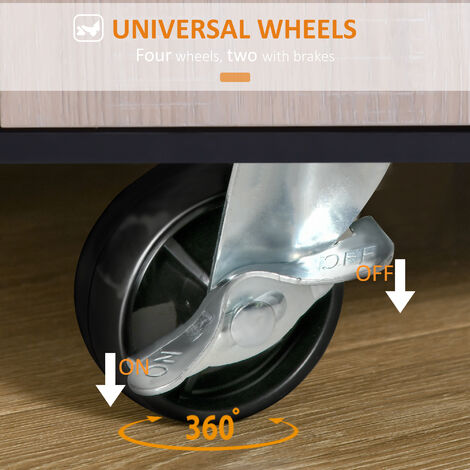 HOMCOM Rolling Kitchen Storage Trolley Cabinet Shelves 2 Handle With Locking Wheels