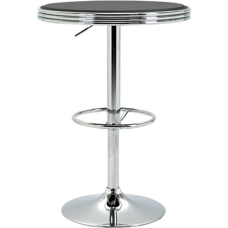 HOMCOM Ropund Faux Leather Round Pub Style Table Adjustable Height Counter