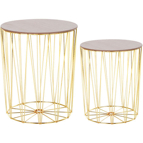 HOMCOM Round Side Table Sophisticated Style w/ Metal Base MDF Top Gold Tone