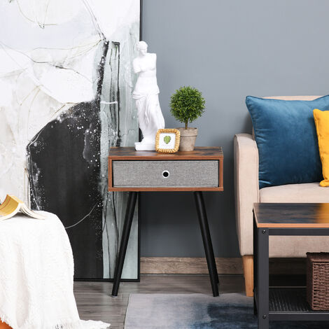 HOMCOM Rustic Chic End Side Table with Fabric Drawer Wooden Legs Living Room