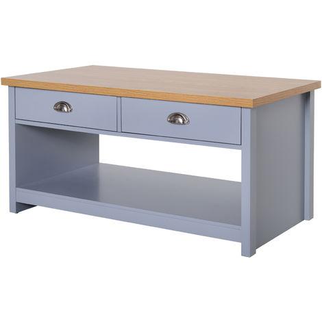 "main image of ""HOMCOM Rustic Coffee Table w/ 2 Drawers Handles Open Display Wood Effect Grey"""