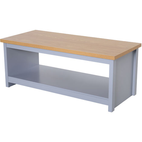 HOMCOM Rustic Coffee Table w/ Open Display Wood Effect Top Living Room Grey