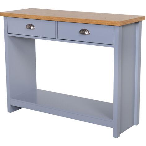 HOMCOM Rustic Style Console Table w/ 2 Drawers Open Shelf Oak Effect Top Grey