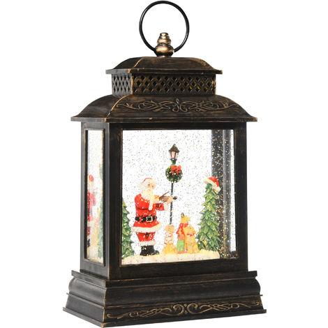 HOMCOM Santa & Violin Lantern Globe Ornament w/ Glitter Snow Music Lights Show