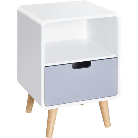 HOMCOM Scandinavian Nordic Style Bedside Table End Nightstand Wood Lamp Desk With Drawer