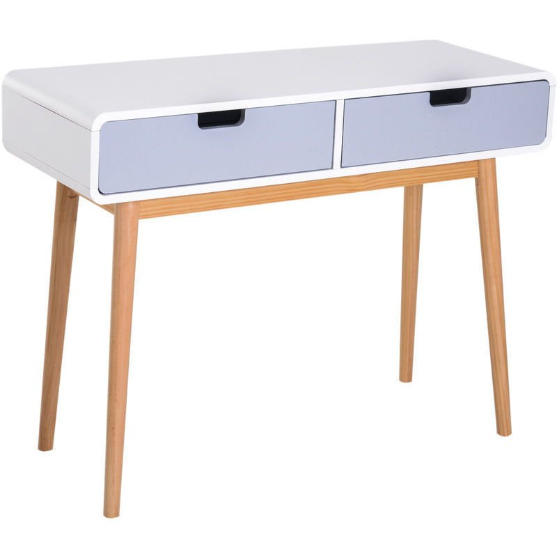 Homcom Scandinavian Nordic Style Side Table Computer Desk Coffee End Lamp W Drawers