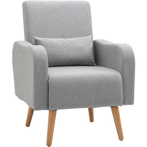 "main image of ""HOMCOM Scandinavian Style Armchair Linen Cushioned Solid Wood Legs Grey"""