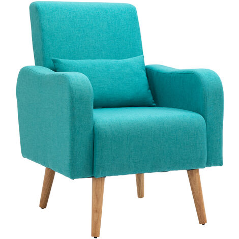 HOMCOM Scandinavian Style Armchair Linen Cushioned Solid Wood Legs Teal Green
