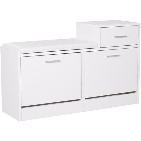 Homcom Scarpiera Portascarpe Robusta Design Moderno 6 Paia di Scarpe Sedile con Cuscino da Ingresso in Legno Truciolato 94,5 x 57 x 30 cm Bianco