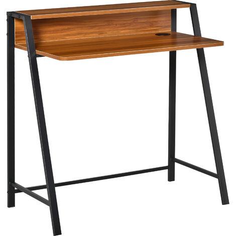 HOMCOM® Schreibtisch Computertisch Bürotisch Arbeitstisch mit Schublade Spanplatte, Stahl - Walnuss/schwarz