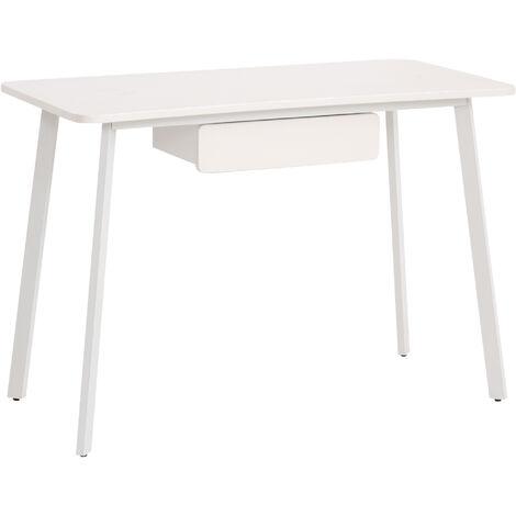 HOMCOM® Schreibtisch Computertisch Bürotisch Elegantes Design MDF+Stahl Weiß 120x60x76cm