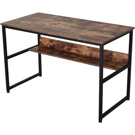 HOMCOM® Schreibtisch Computertisch Bürotisch mit Regal Spanplatte Metall Braun