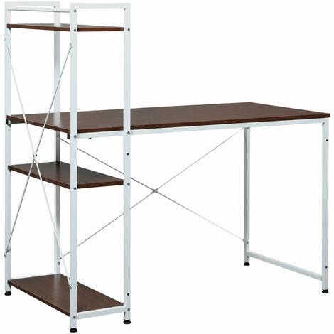 HOMCOM® Schreibtisch Computertisch Bürotisch mit Regal Walnuss Weiß