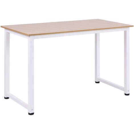 HOMCOM® Schreibtisch Computertisch Bürotisch Weiß 120 x 60 x 76 cm