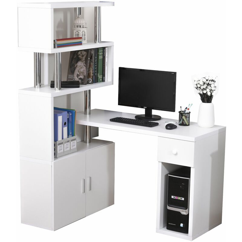 ® Schreibtisch in L-Form/I-Form Computertisch Kombination-Tisch Edelstahl Weiß - weiß - Homcom