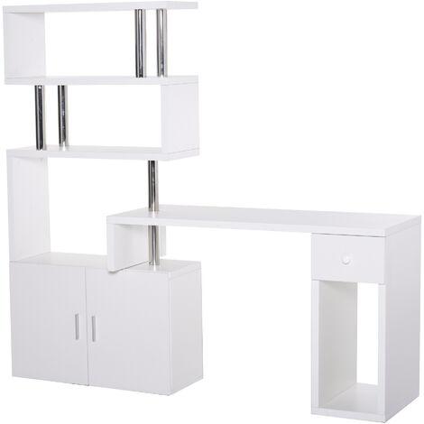 HOMCOM® Schreibtisch in L-Form/I-Form Computertisch Kombination-Tisch Edelstahl Weiß - weiß