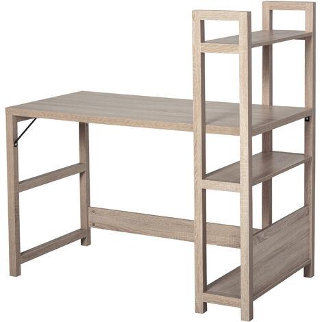 HOMCOM® Schreibtisch mit 4 Tier Bücherregal Computertisch Bürotisch Spanplatte Eiche