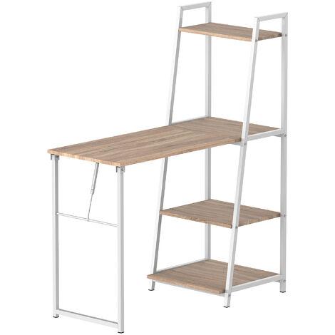 HOMCOM® Schreibtisch mit 4 Tier Bücherregal Computertisch klappbarer Bürotisch Metall
