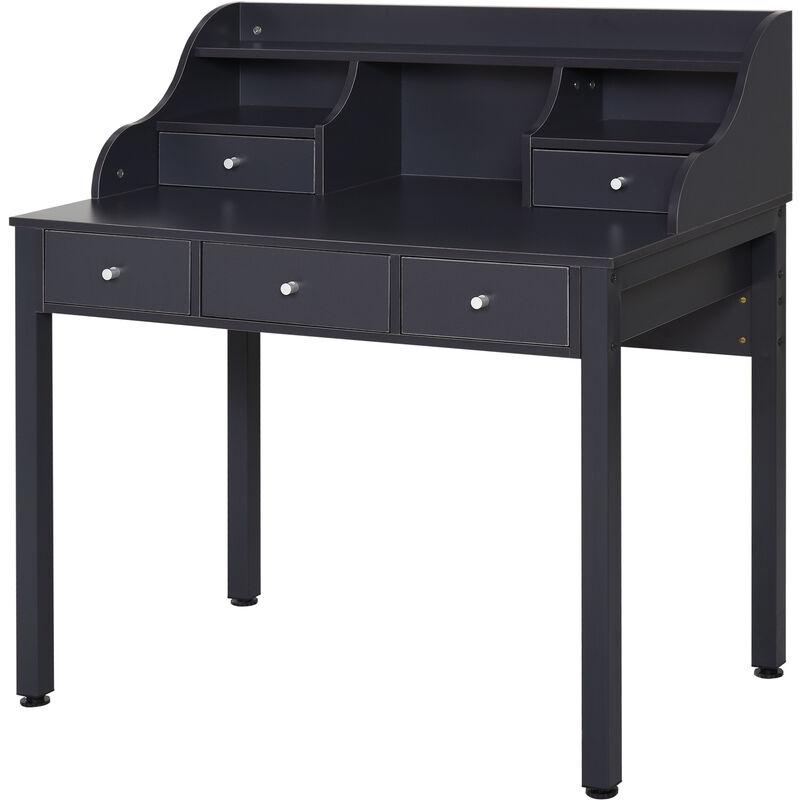® Schreibtisch mit Regal Schublade Computertisch Bürotisch MDF Dunkelgrau - dunkelgrau - Homcom