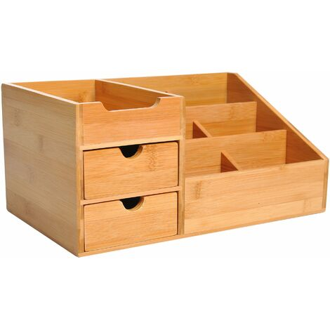 HOMCOM® Schreibtisch Organizer Schubladenbox Büro 2 Schublade Natur L33 x B20,5 x H15,5 cm