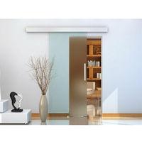 Homcom scorrevole vetro smerigliato binario silenzioso 77.5x205cm