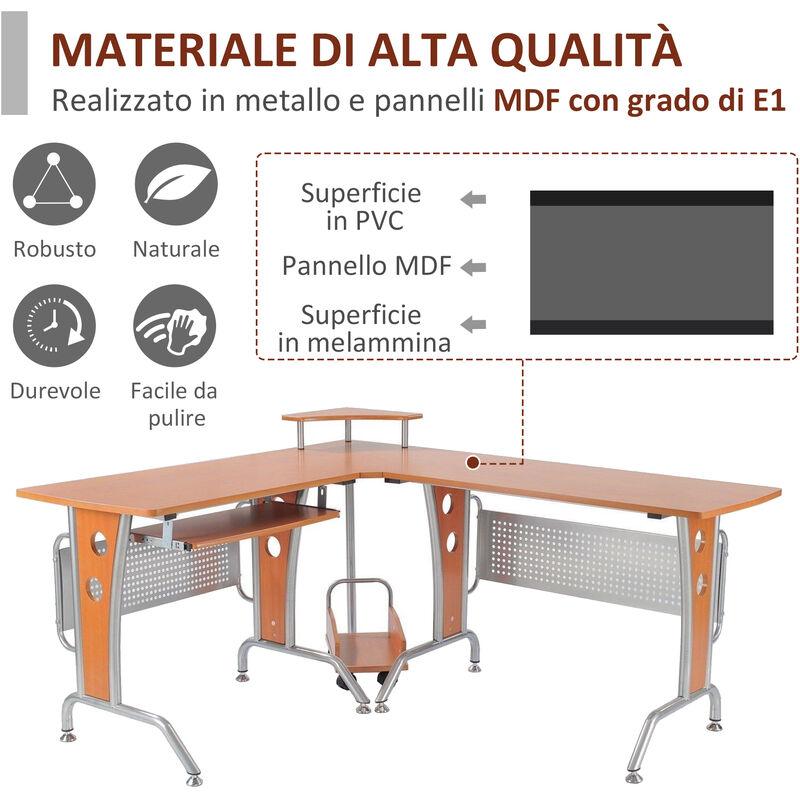 HOMCOM Scrivania per Computer con Libreria a Forma di L Tavolo ad Angolo in Legno per PC Adatto per Studio Casa Piccolo Spazio