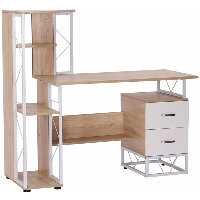 Homcom scrivania per ufficio porta pc di design moderno for Scaffale da scrivania
