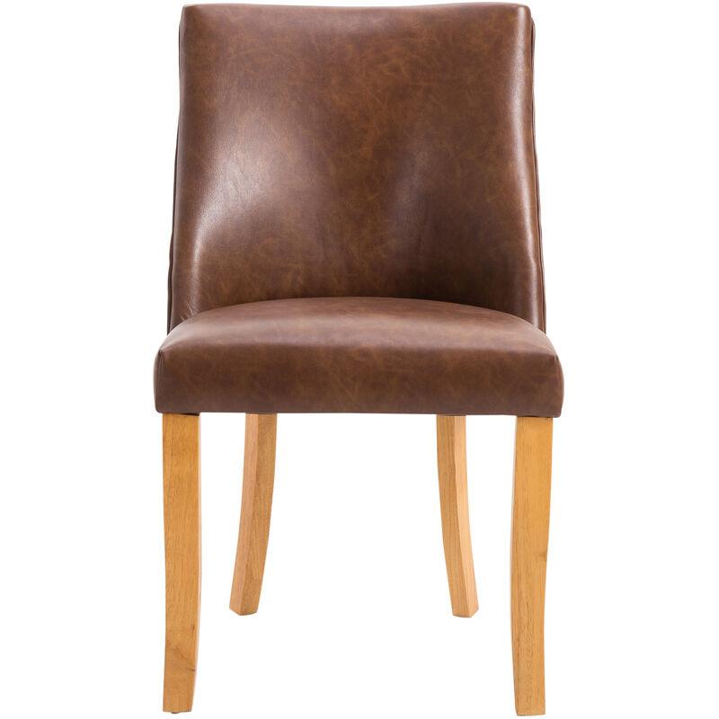 homcom Sedia da Pranzo Design Classico Sedile Imbottito, Pelle PU e Legno Massello, Marrone, 51x59x88cm