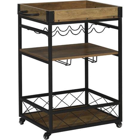 HOMCOM® Servierwagen Küchenwagen mit Weinregal und Glashalter Rollwagen Bremsen Metall - schwarz/natur