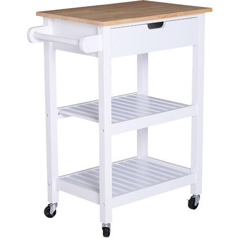 HOMCOM® Servierwagen Küchenwagen rollbar mit Schublade Holz weiß 64 x 39 x 84,5 cm - weiß/natur
