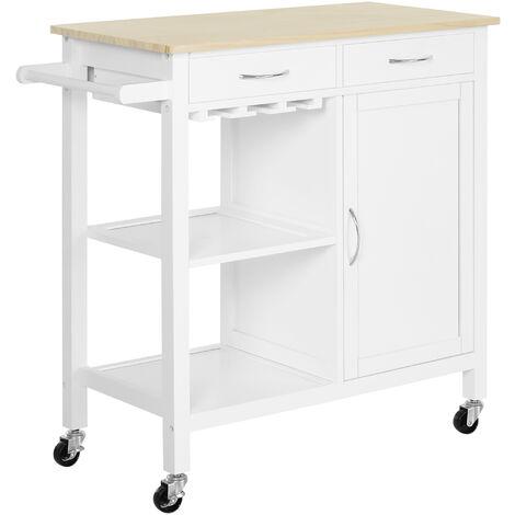 HOMCOM® Servierwagen Küchenwagen Rollwagen Rollbar mit 2 Schubladen Pflegeleicht Weiß - weiß/natur