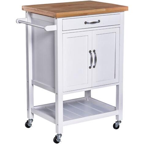 HOMCOM® Servierwagen Küchenwagen Rollwagen Rollbar mit Schublade Pflegeleicht Weiß - weiß/natur
